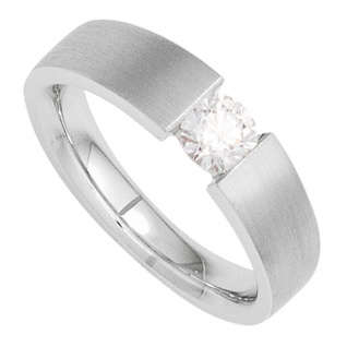 Damen Ring 585 Gold Weißgold mattiert 1 Diamant Brillant 0, 10ct. Goldring