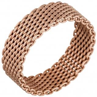 Damen Ring Milanaise 925 Sterling Silber rotgold vergoldet Milanaisering