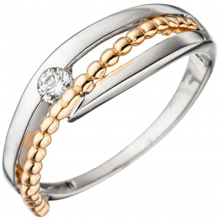 Damen Ring 333 Gold Weißgold Rotgold bicolor 1 Zirkonia Goldring