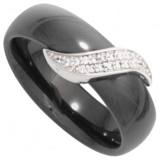 Damen Ring Keramik schwarz mit 925 Sterling Silber und Zirkonia Keramikring
