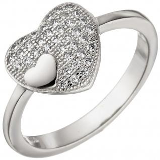 Damen Ring Herz Herzen 925 Sterling Silber 38 Zirkonia Herzring