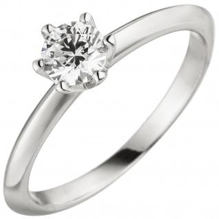 Damen Ring 585 Gold Weißgold 1 Diamant Brillant 0, 70 ct. Diamantring Solitär