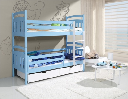 Etagenbett Hochbett Kinderbett Doppelbett HUGO 2 80x180 cm unschädlich lackiert