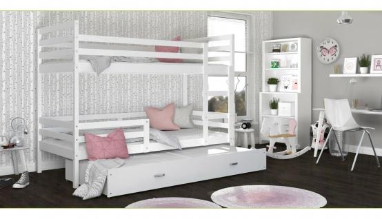 Etagenbett Hochbett JA 3 190x80 Farbe weiß mit einer Schublade, NEU