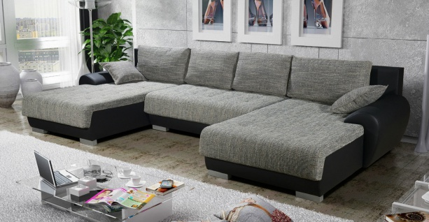Couchgarnitur Couch Sofagarnitur LEON 6 U Sofa Wohnlandschaft Schlaffunktion