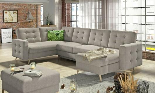 Couchgarnitur ASGARD U Schlaffunktion Bettkasten Couch Sofa ohne Hocker NEU