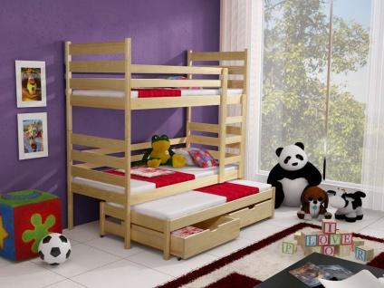 Etagenbett Hochbett Kinderbett Doppelbett TOMI 80x180 cm unschädlich lackiert