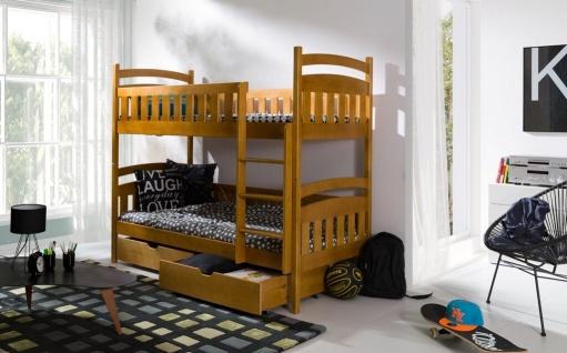 Etagenbett Hochbett Kinderbett Doppelbett MICHAEL NEW 90x200 unschädl. lackiert