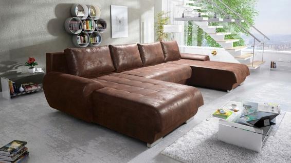Sofa Couchgarnitur Couch LEON U GOBI4 Polsterecke Wohnlandschaft Schlaffunktion