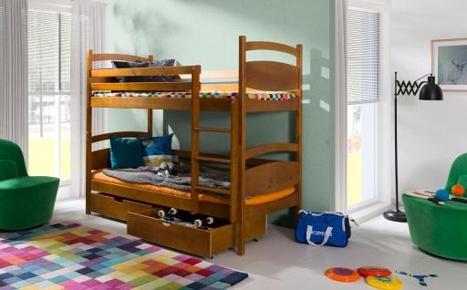 Etagenbett Hochbett Kinderbett Doppelbett MARGARETTE NEW 90x200 unschä. lackiert