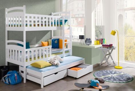 Etagenbett Kinderbett VIKI new für 3 Pers. Stockbett unschädlich lackiert 80x180