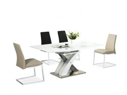 Tisch Esstisch Esszimmertisch Säulentisch 90x220 ausziehbar Weiß o. Sonoma Eiche