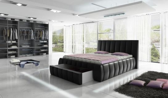 ROMA Doppelbett Schlafzimmerbett Lattenrost Bettkasten Polster Bett 180x200