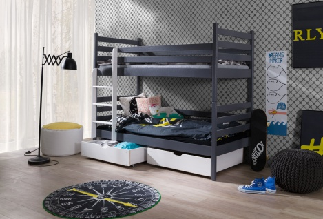 Etagenbett Hochbett Kinderbett Doppelbett NEMO NEW 90x200 unschädlich lackiert