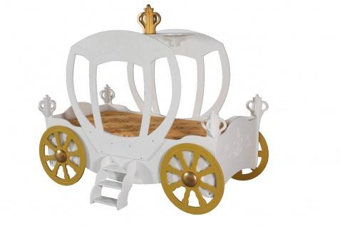 Kinderzimmer Bett Kinderbett PRINCESS CARRIAGE weiss 90x180 cm +Matratze +Rost