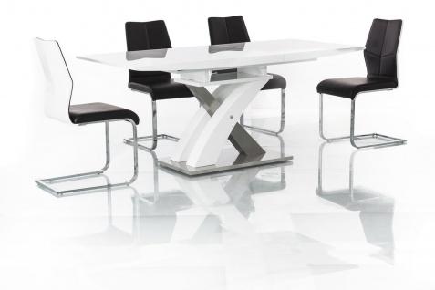 Esstisch Tisch RAUL weiß 140x85 cm ausziehbar 180x85 cm Hochglanz Weiß Lack NEU