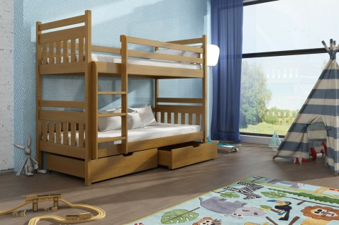 Etagenbett Hochbett Kinderbett Doppelbett ADAMS 80x180 unschädlich lackiert