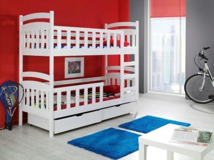 Etagenbett Hochbett Kinderbett Doppelbett LILLI 80x180 cm unschädlich lackiert