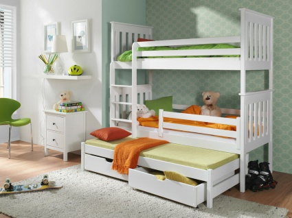 Etagenbett Hochbett Kinderbett Doppelbett JACK 90x200 cm unschädlich lackiert