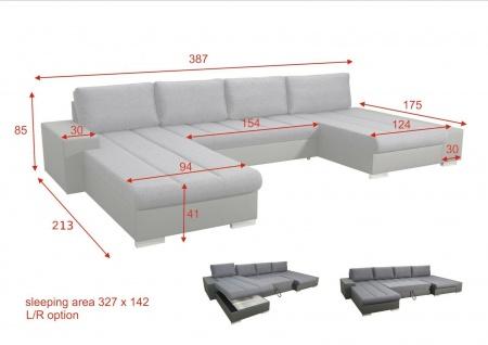 Couch VERONA 4 U Couchgarnitur Sofagarnitur Wohnlandschaft Sofa Schlaffunktion - Vorschau 2
