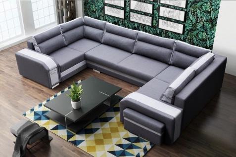 Couch Sofa Couchgarnitur ASSAN U Polesterecke mit Schlaffunktion Wohnlandschaft