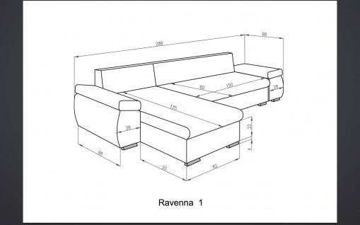 Sofa Couchgarnitur RAVENNA 1 L Couch Sofagarnitur Polsterecke Schlaffunktion - Vorschau 3