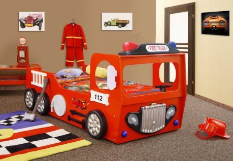 Kinderzimmer Bett Kinderbett FIRETRUCK rot single Matratze Lattenrost 90x190 NEU