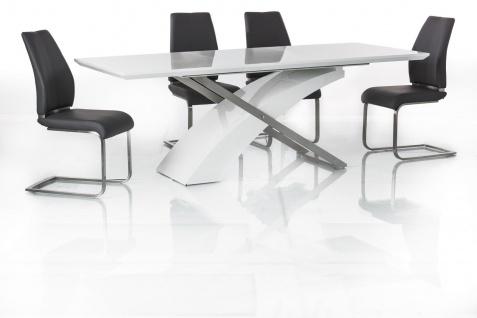 Esstisch Tisch ARTIS 160x90cm ausziehbar auf 220x90cm Hochglanz Weiß Lack NEU
