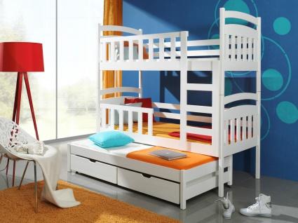 Etagenbett Hochbett Kinderbett Doppelbett VIKI 90x190 cm unschädlich lackiert