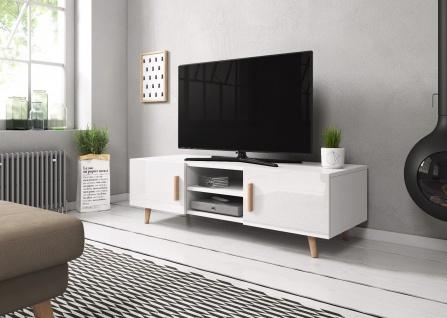 TV Board Lowboard Unterschrank Sideboard Sweden 2 matt oder hochglanz 140 cm