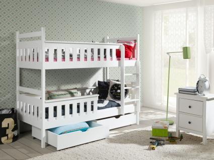 Etagenbett Hochbett Kinderbett Doppelbett TESSO 90x190 unschädlich lackiert