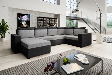 Couch Garnitur Ecksofa Sofagarnitur Sofa MALTA U Schlaffunktion Wohnlandschaft