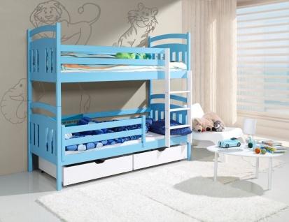 Etagenbett Hochbett Kinderbett Doppelbett HUGO 90x200 unschädlich lackiert