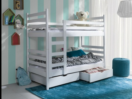 Etagenbett Hochbett Kinderbett Doppelbett NEMO 90x190 unschädlich lackiert