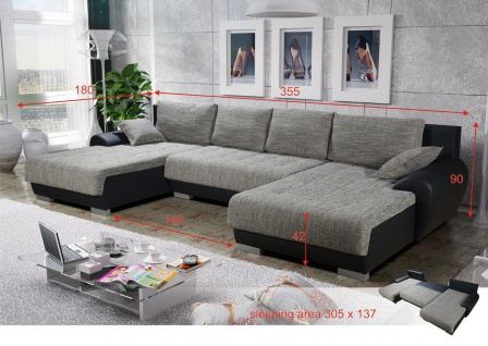 Sofa LEON 6 Couchgarnitur Couch Sofagarnitur U Wohnlandschaft Schlaffunktion