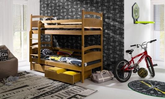 Etagenbett Hochbett Kinderbett Doppelbett NIKI NEW 90x200 unschädlich lackiert