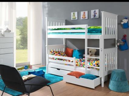 Etagenbett Hochbett Kinderbett Doppelbett BRUNO 80x180 cm unschädlich lackiert