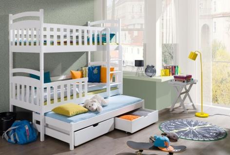 Etagenbett VIKI NEW 90x190 Kinderbett Doppelbett unschädlich lackiert NEU