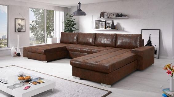 Sofa Couchgarnitur Couch Sofagarnitur VERONA 9 U Schlaffunktion Ottomane links