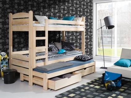 Etagenbett Hochbett Kinderbett Doppelbett CEZAR 90x200 unschädlich lackiert