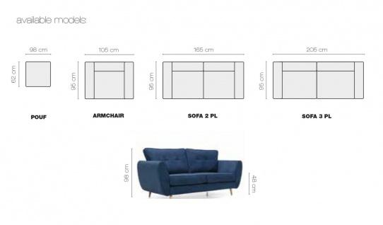 AMELIA 2 er Sofa mit Hocker Couchgarnitur Couch Polster Sofa Wohnlandschaft NEU - Vorschau 2