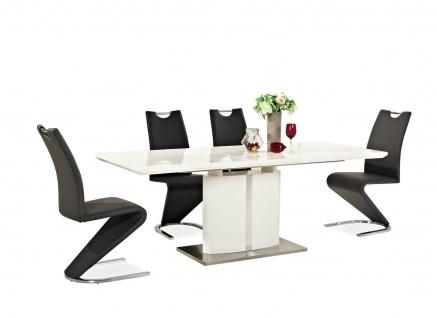Esstisch Tisch FIRENZE 90x160cm ausziehbar auf 90x200cm Hochglanz Weiß Lack NEU
