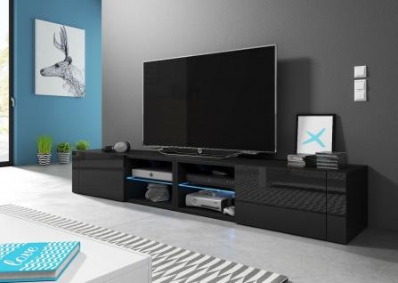 HIT2 double 200 cm Sideboard Lowboard TV Fernsehschrank inkl LED Highboard - Vorschau 3