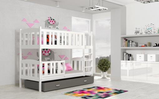 Etagenbett Hochbett JAKOB weiß/grau 184x80 unschädlich lackiert Kinderbett NEU