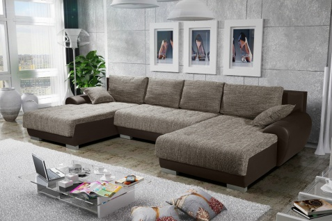 Sofa Couchgarnitur Couch Sofagarnitur LEON 8 U Wohnlandschaft Schlaffunktion