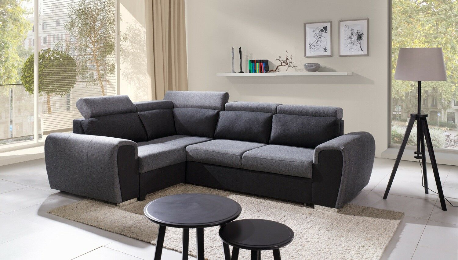 couchgarnitur wizzar l form schlaffunktion bettkasten sofa. Black Bedroom Furniture Sets. Home Design Ideas