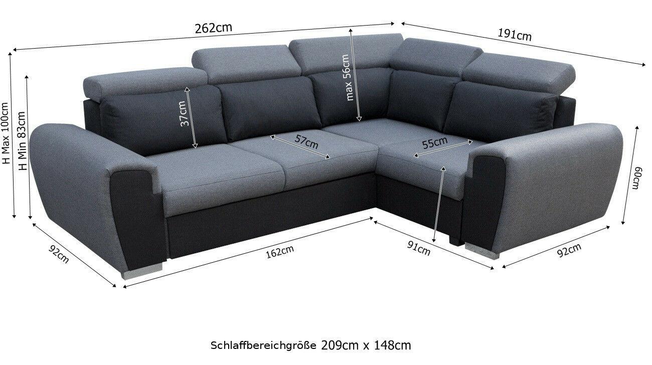 Couchgarnitur Wizzar L Form Schlaffunktion Bettkasten Sofa