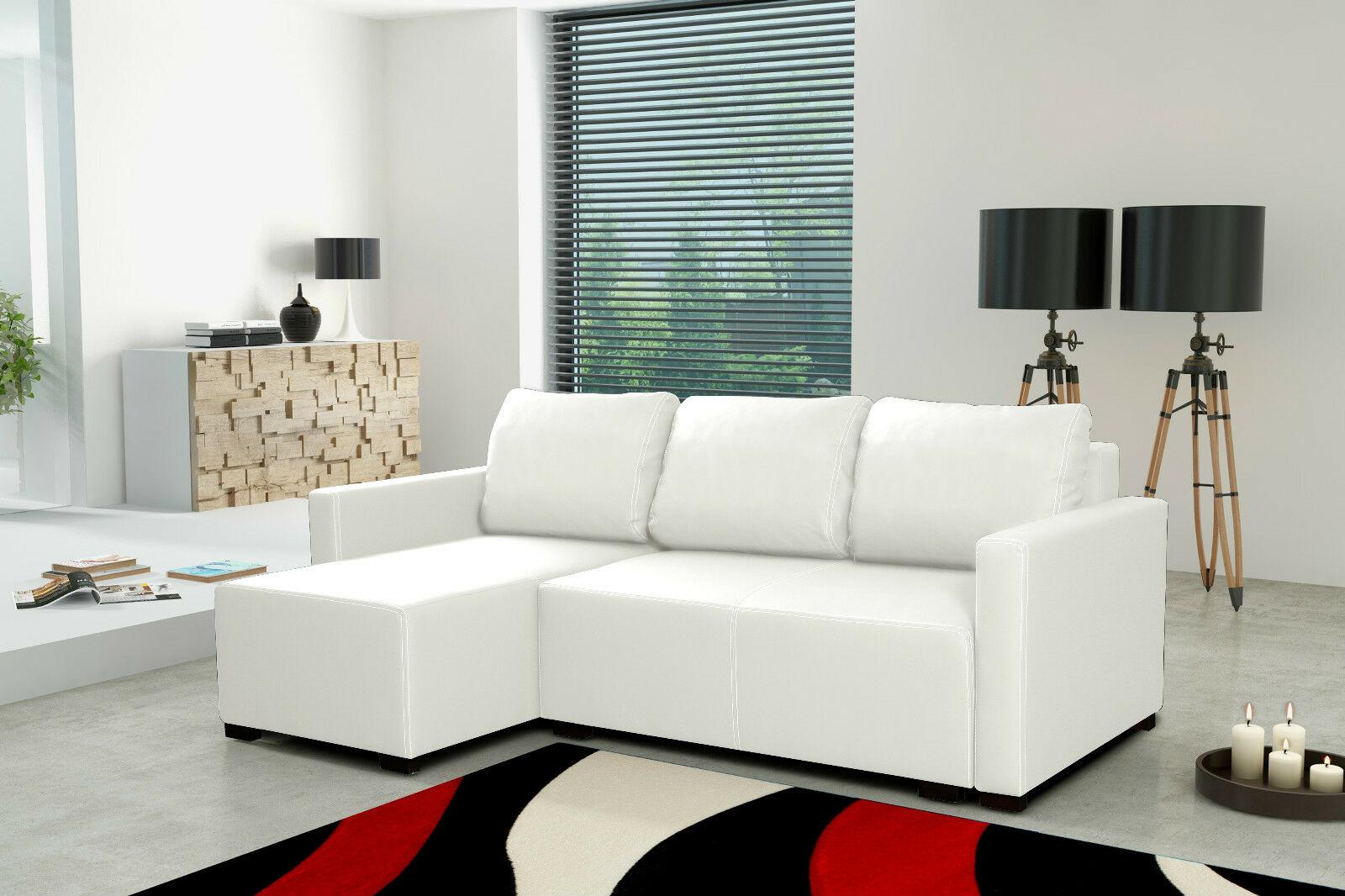 Couchgarnitur Sofa Polsterecke Couch Rivano Weiß Schlaffunktion