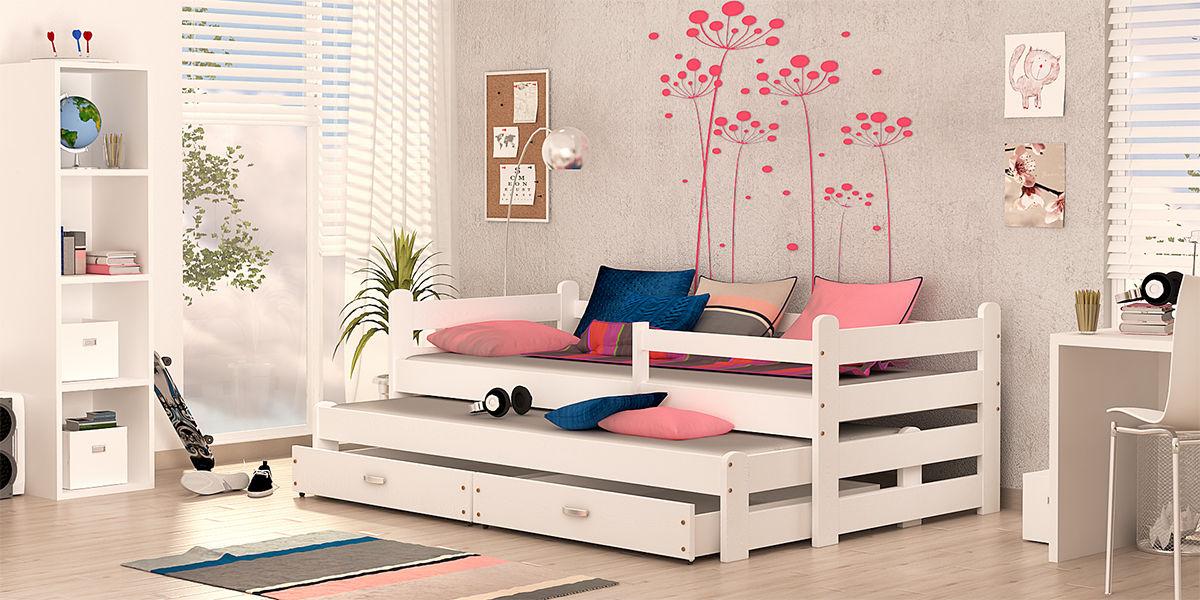 Kinderbett Doppelbett BEN NEW Weiß Unschädlich Lackiert Etagenbett Hochbett