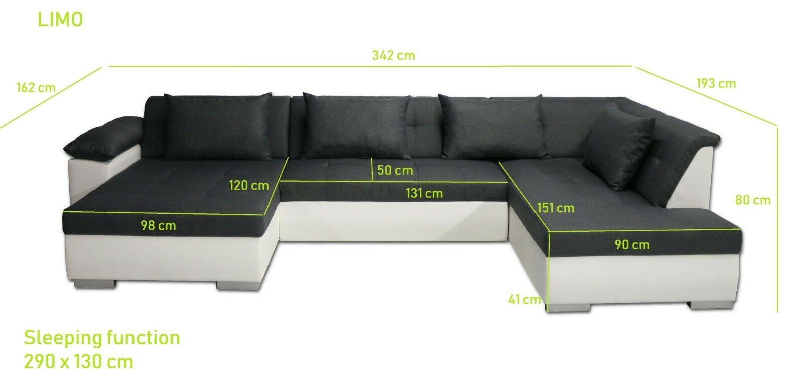 Couchgarnitur Limo U Form Mit Schlaffunktion Couch Polster Sofa